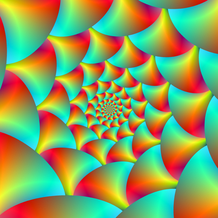 A digital abstract fractal image with a spiral sphere design in yellow, red, orange and turquoise.