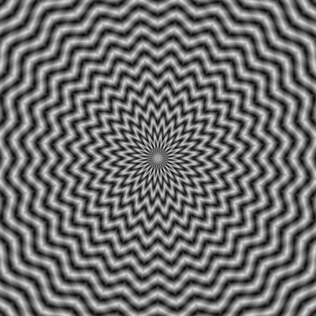 A digital abstract fractal image with an optically challenging circular wave design in black and white giving the illusion of movement.