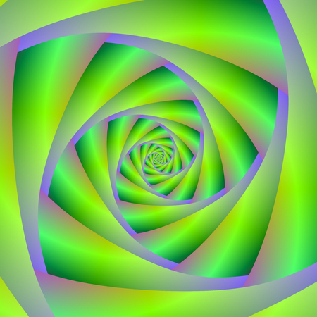 A digital abstract fractal image with a spiral design in green and lilac.