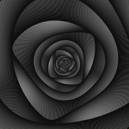 A digital abstract fractal image with a spiral labyrinth design in black and white.