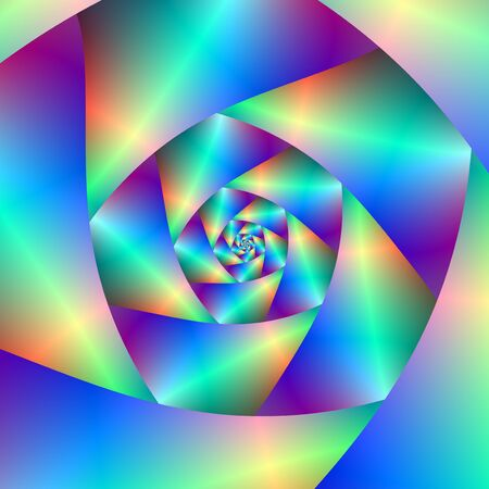A digital abstract fractal image with a spiral design in blue, purple.