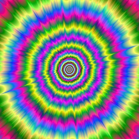 A digital abstract fractal image with a color explosion design in yellow, green, pink and blue.