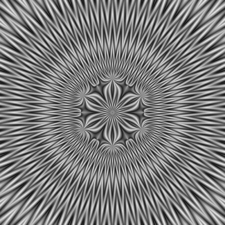 A digital abstract fractal image with a floral motif in a circular design in black and white.