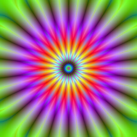 A digital abstract fractal image with a color wheel design green, violet, red, yellow and blue. Zdjęcie Seryjne