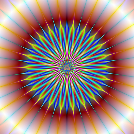 A digital abstract fractal image with a star flower design in red, blue, yellow and turquoise. Zdjęcie Seryjne