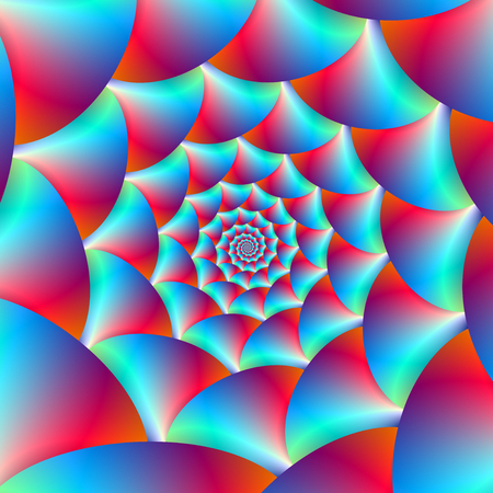A digital abstract fractal image with a spiral design in blue and red. Zdjęcie Seryjne