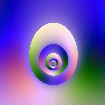 A digital abstract fractal image with an egg shaped design or is it an egg shaped window in blue, green and pink.