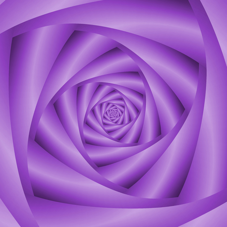 A digital abstract fractal image with a four sided spiral design in violet.