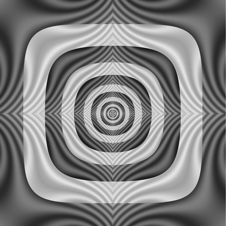 A digital abstract fractal image with a striped square to circle pattern in black and white. Zdjęcie Seryjne