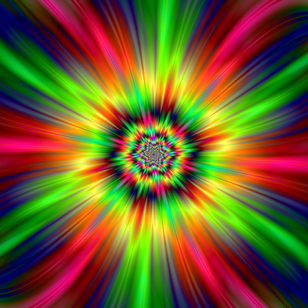 An abstract fractal image with a colorful star burst design in red, pink, yellow, green and blue. Zdjęcie Seryjne - 44011270