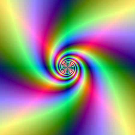 A digital abstract fractal image with a colorful neon spiral design in green, red, yellow and violet. Zdjęcie Seryjne