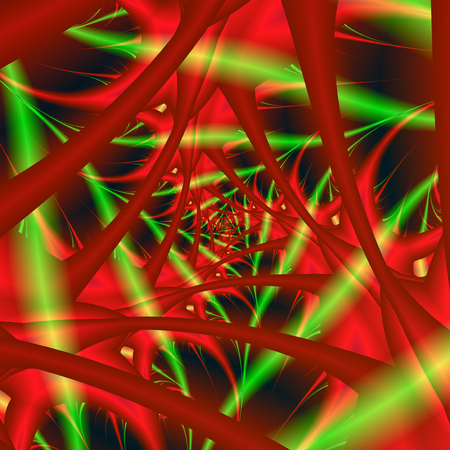 An abstract fractal image with a fibrous spiral design in neon colored lights of red, green and yellow.
