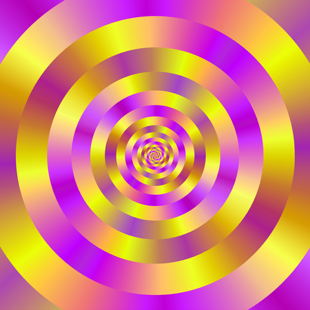 A digital abstract fractal image with a ringed spiral design in yellow and pink.