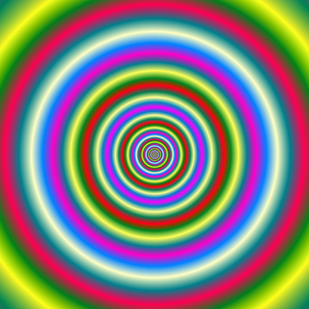 An abstract fractal image with a concentric ring design in red yellow blue and green.