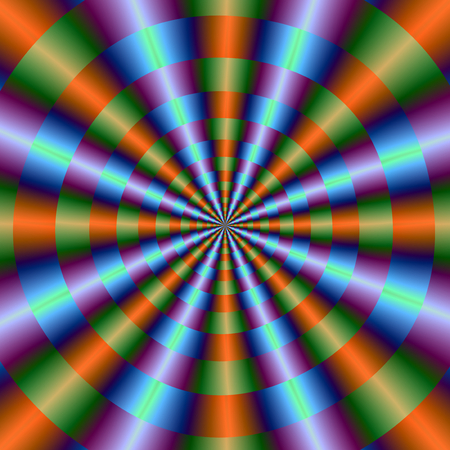 An abstract fractal image with a circular pleated or cone design in orange green blue and violet. Zdjęcie Seryjne - 47270823