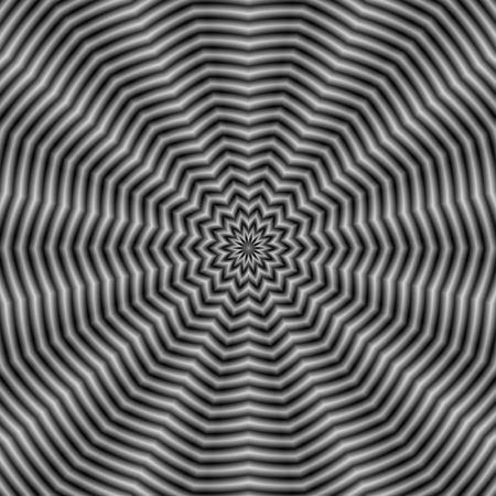 A digital abstract fractal image with an optically challenging rippling star design in black and white.