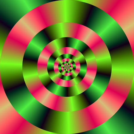 A digital abstract fractal image with a concentric ring design in pink and green.