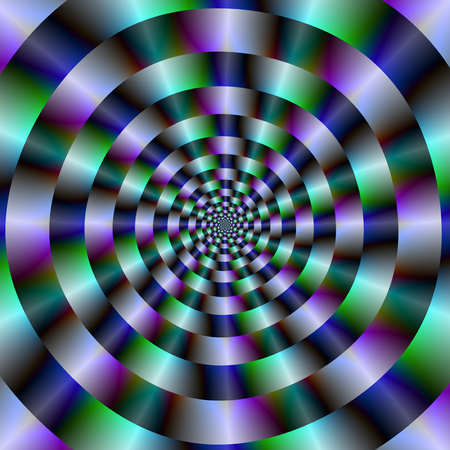 An abstract fractal image with a concentric ring design in blue, green and violet.