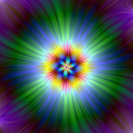 An abstract fractal image with a star light design in green, purple, yellow and blue. Zdjęcie Seryjne - 47669695