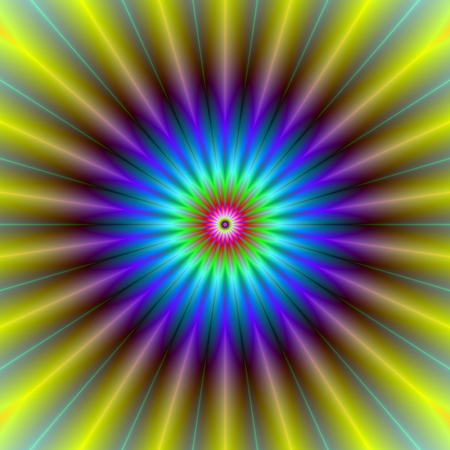 A abstract fractal image with a sun beam flower design in yellow, blue and violet. Zdjęcie Seryjne