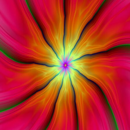 A digital abstract fractal image with nine segments in pink, red, orange, yellow and green, and blue.