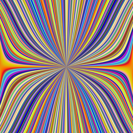 A digital abstract fractal image with a colorful pinched in the middle striped design in yellow, blue, green, orange and red.