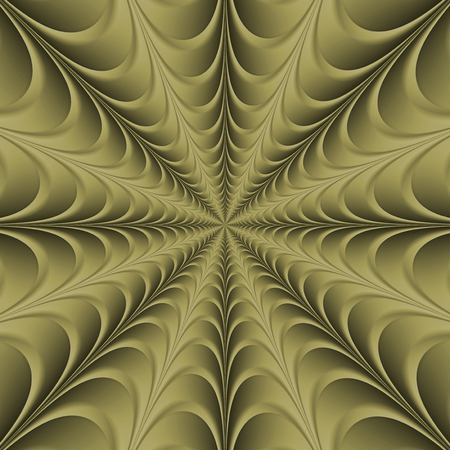 A digital abstract fractal image with a monochrome web design in gold.