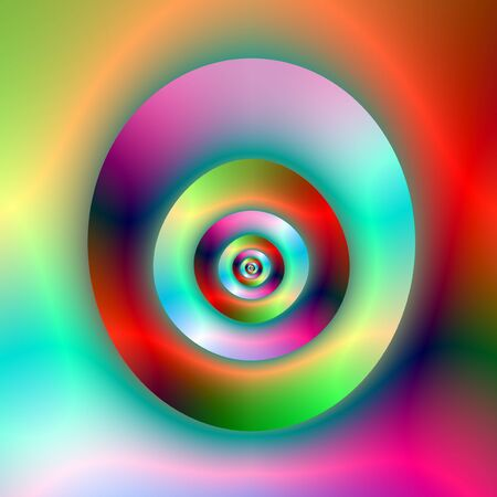 Optical illusion were the torus becomes the hole and the hole becomes the torus, in green, red, violet and blue. Zdjęcie Seryjne