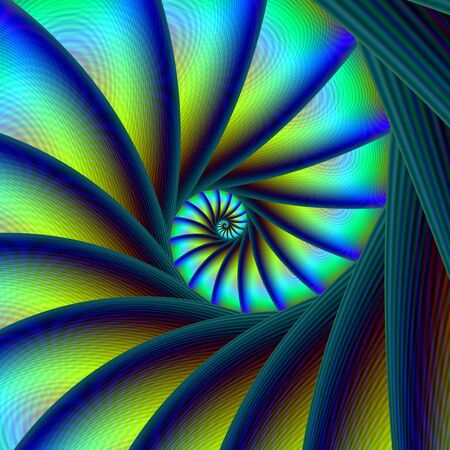 An abstract fractal image with a stepped spiral design in blue, turquoise and yellow. Stock Photo