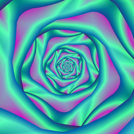 fractal pink: A digital fractal image with silkey spiral rose design in blue and pink.