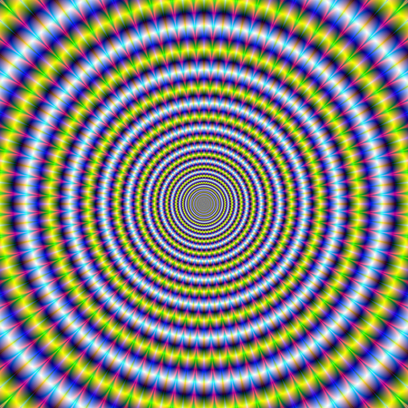 toothed: An abstract fractal image with an optically challenging toothed ring design in blue, yellow, pink and green.