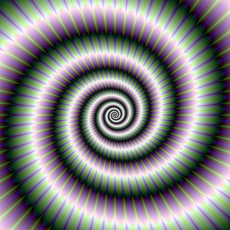 coiled: An abstract fractal image with a toothed coiled spiral design in light green violet and blue. Stock Photo