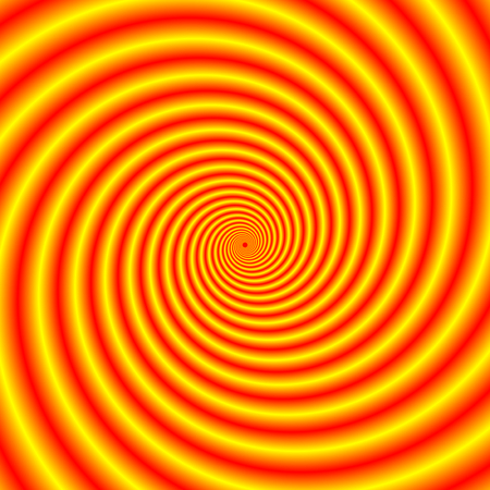 hypnotic: An abstract fractal image with an hypnotic spiral design in yellow, red and orange. Stock Photo