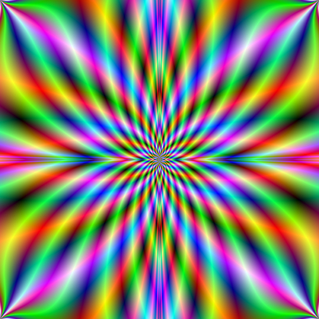 violet red: An abstract fractal image with a neon flaming star design in blue, yellow, green, violet and red.