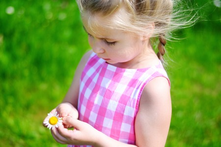 Adorable little girl with daisy on sunny summer day