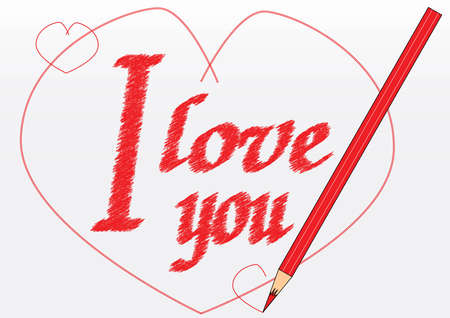 I love you - note writed with a red pencil Vector
