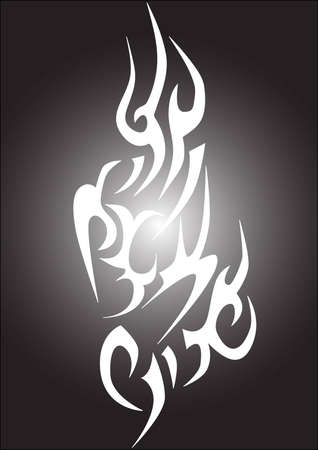bodyart: an abstract white tattoo on the black background
