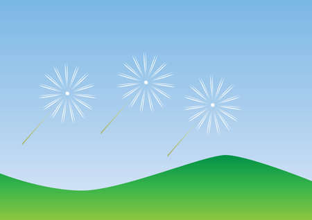 Three flying dandelions and the blue sky Vector