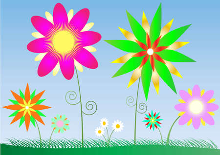 lanscape: Bright vector flowers and the blue sky
