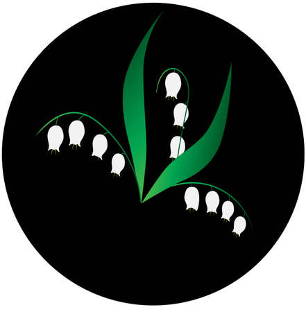 lily of the valley: Lily of the valley and black round background