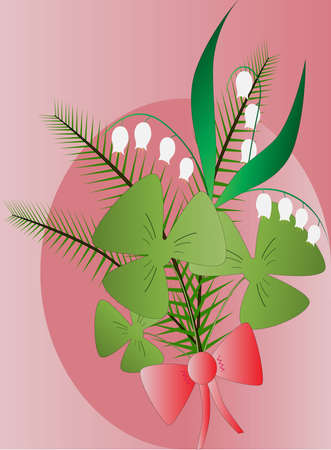 boughs: Forest bouquet including lily-of-the-valley, boughs, clover and bow Illustration