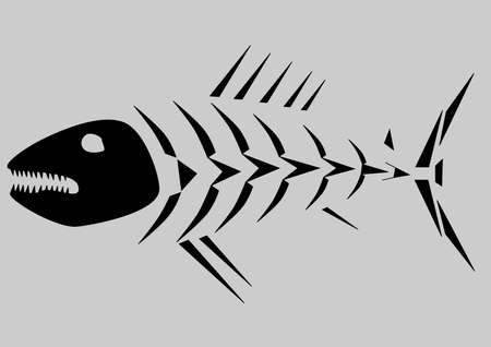 skeleton fish: Black skeleton of fish isolated on grey background Illustration
