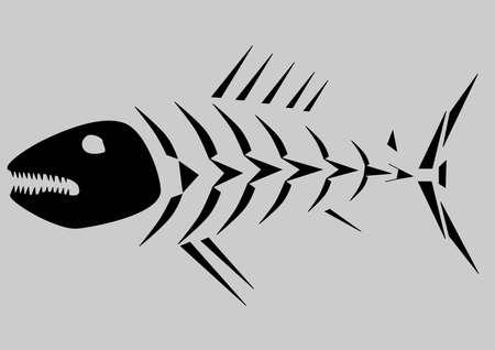 bone fish: Black skeleton of fish isolated on grey background Illustration
