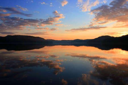 beautiful sunset in Karelia and Ladoga lake photo
