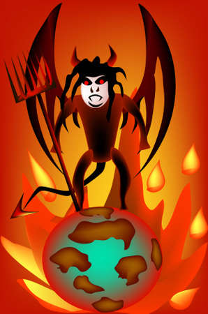 terrible: Terrible devil with a pitchfork on the abstract planet