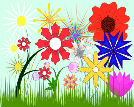A set of different multicolored flowers and green grass Stock Vector - 4751991