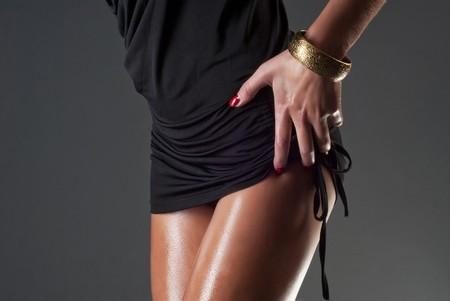 beautiful legs: sexy oily legs Stock Photo