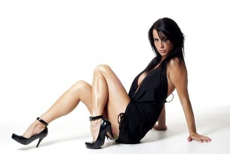 falda corta: cute chica sentada en un suelo