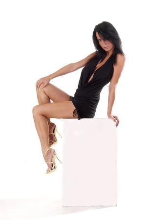 sexy Dama sentada en un banner