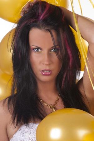 Dama de bellos con globos Foto de archivo